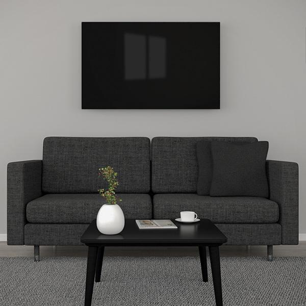 Glasheizung schwarz 750Watt 90x70cm